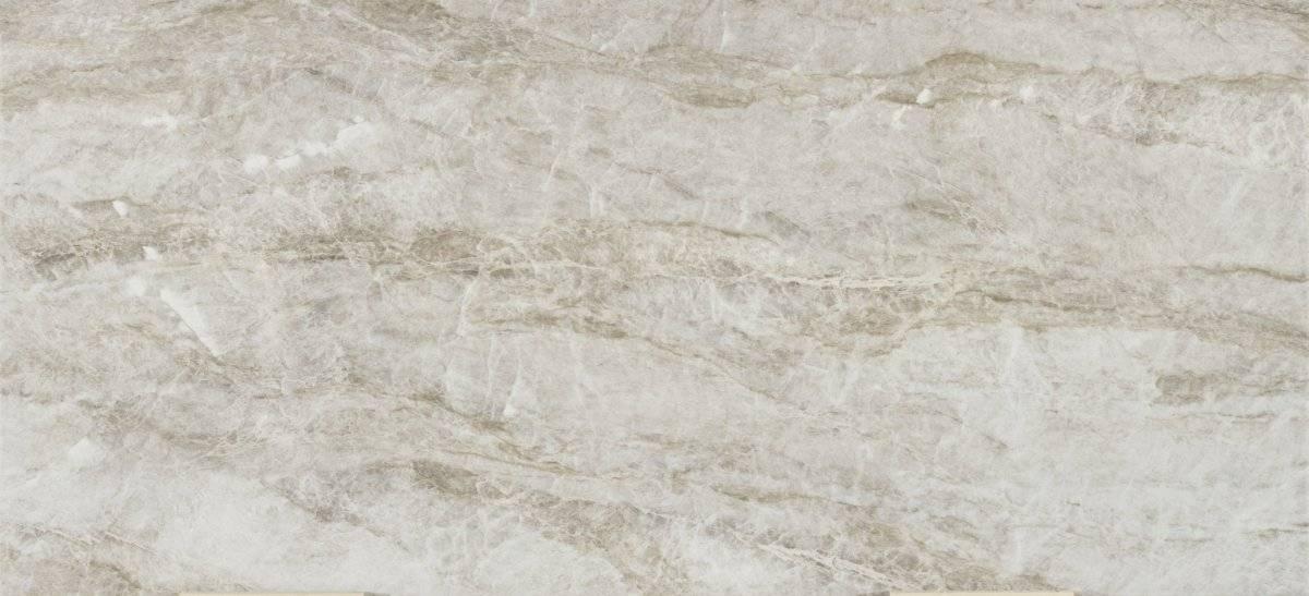 Taga: Igualmente inspirada en la cuarcita Taj Mahal, representa una interpretación más moderna, en línea con las últimas tendencias, y sin perder ni un ápice del auténtico carácter de la piedra, con tonos grises y vetas marmóreas que resaltan su estructura. Cortesía: Cosentino