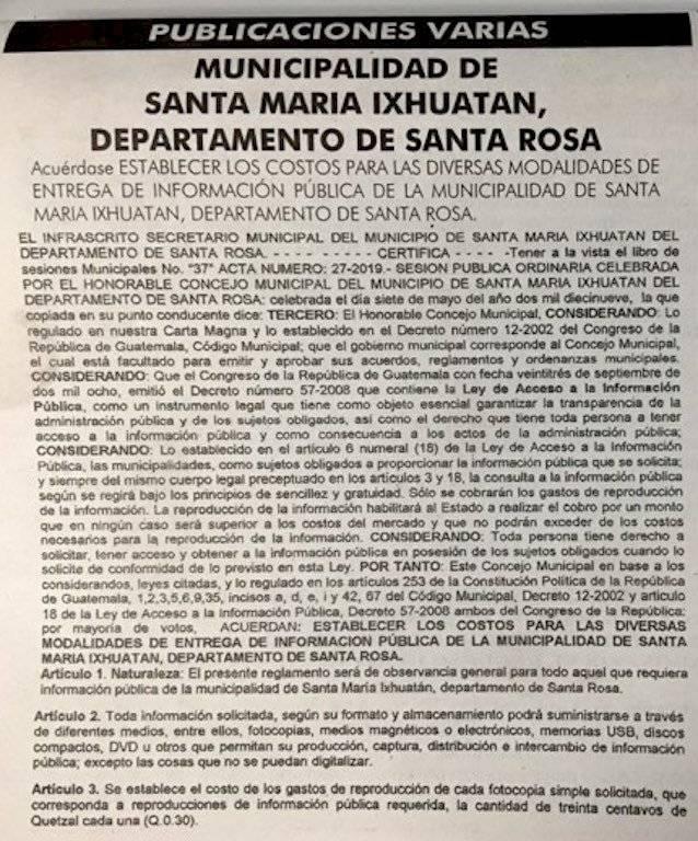 La Municipalidad de Santa María Ixhuatán cobrará por la entrega de información pública. Foto: Jerson Ramos