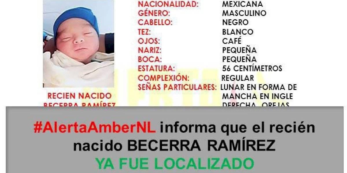 Recuperan a bebé robado de hospital en Nuevo León