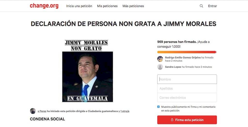 Recolectan firmas contra Jimmy Morales.