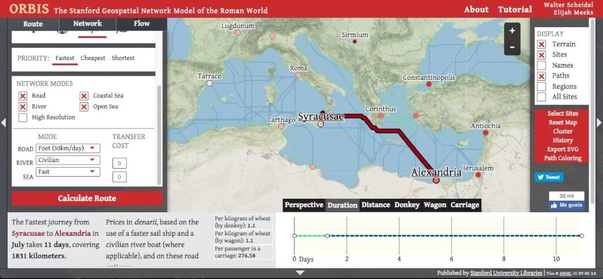 """Conoce el llamado """"Google Maps del Imperio Romano"""" que te guía por sus numerosas rutas en el 200 D.C."""