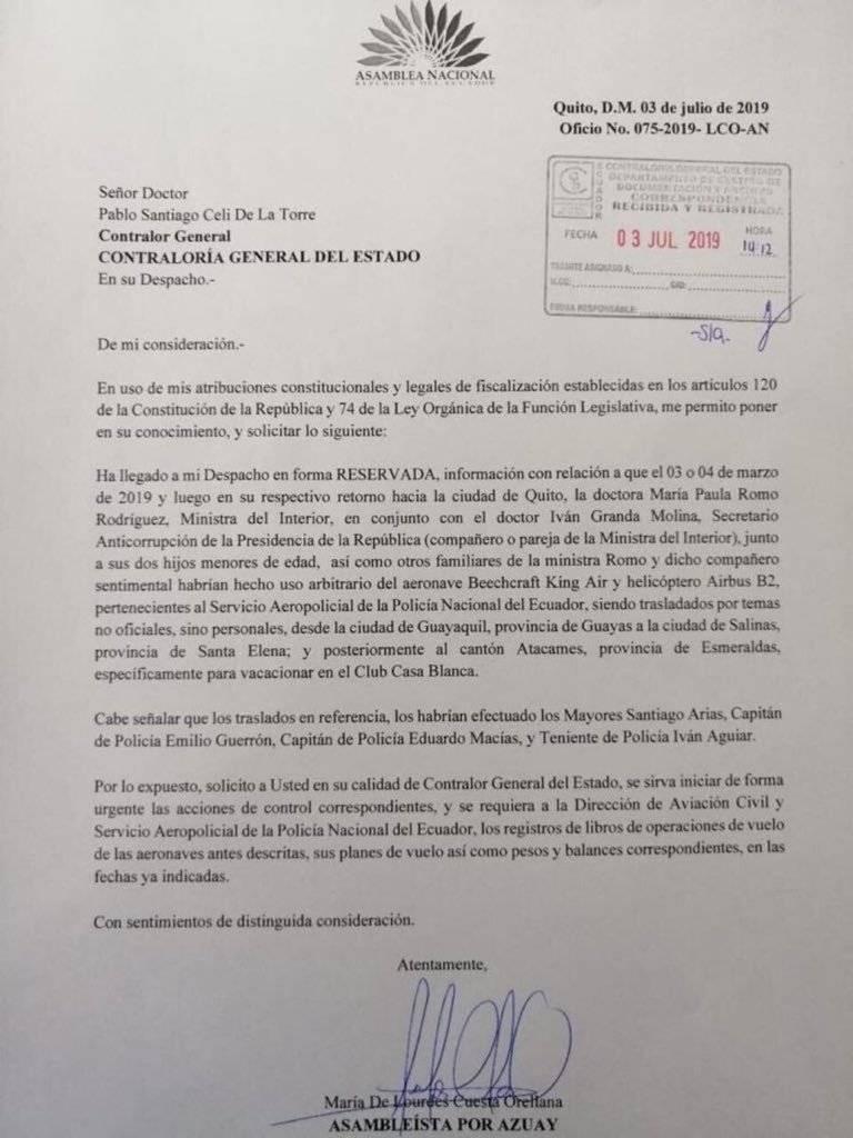 La ministra del Interior y el Secretario Anticorrupción reaccionaron ante las acusaciones de la asambleísta Lourdes Cuesta.