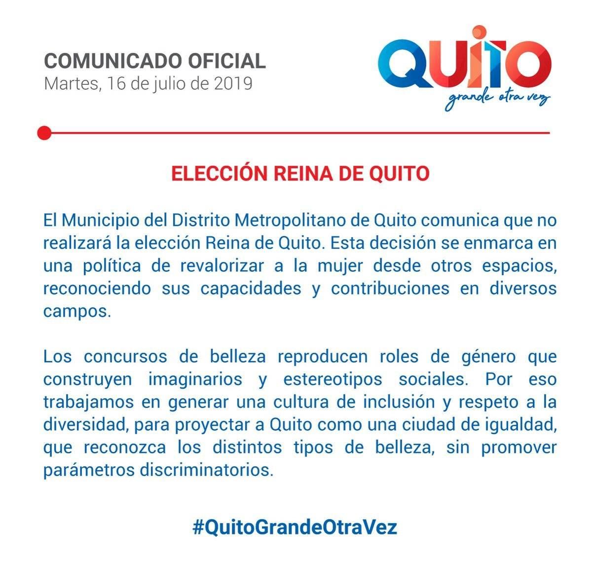 Municipio sobre la elección Reina de Quito