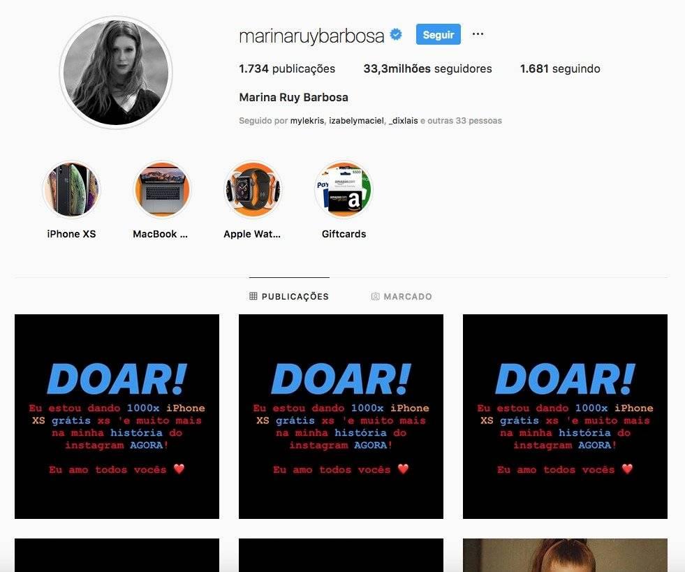 Marina Ruy Barbosa hackeada Instagram