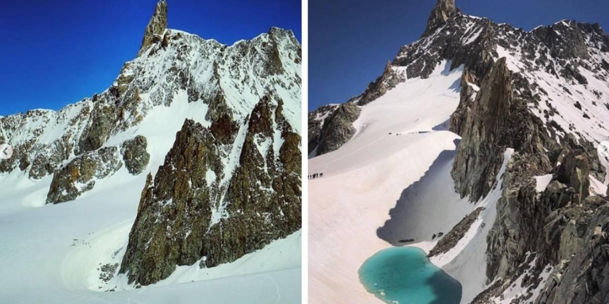 El cambio climático no es una farsa: alpinista registró alarmante aparición de lago en medio de glaciares en Los Alpes