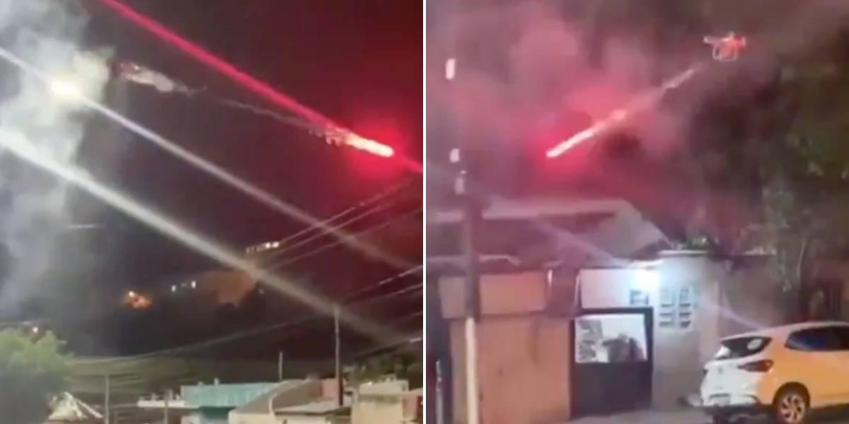 (VIDEO) Cansado del ruido hombre ataca a sus vecinos con un dron y fuegos artificiales