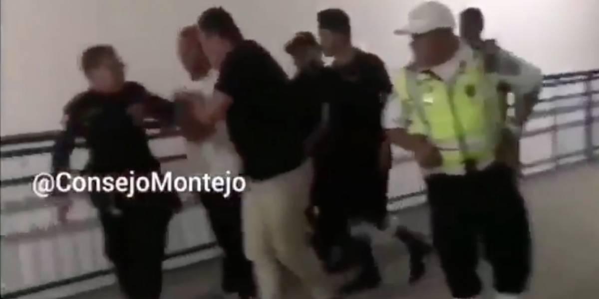 VIDEO. Hombre agrede a un agente de la PNC en Villa Nueva