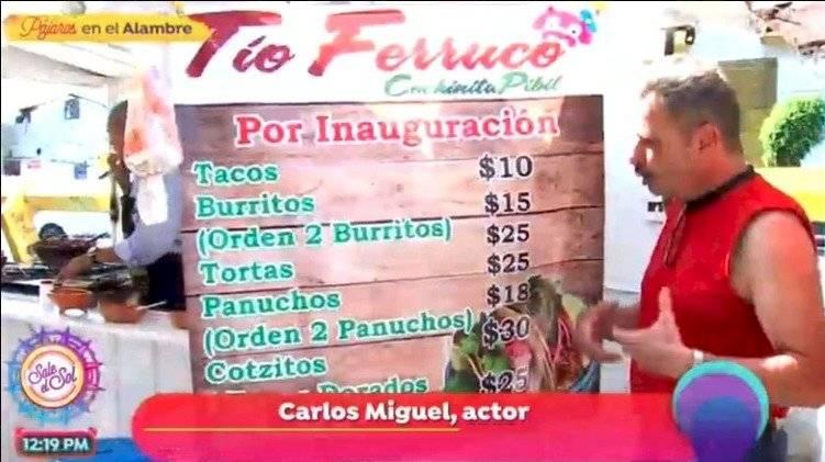 Actor Carlos Miguel vende tacos