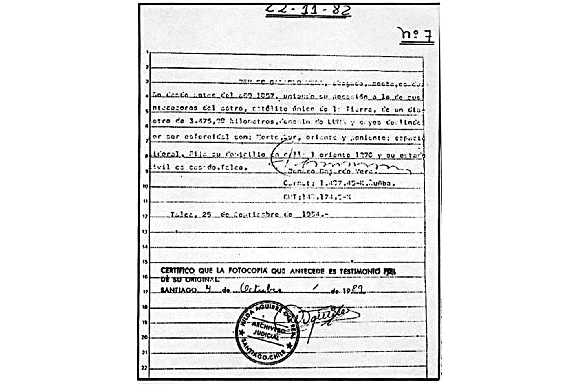 Acta inscripción de la Luna
