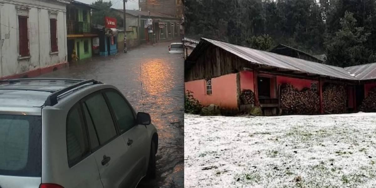 FOTOS. Torrenciales lluvias con granizo inundan las calles del centro de San Marcos
