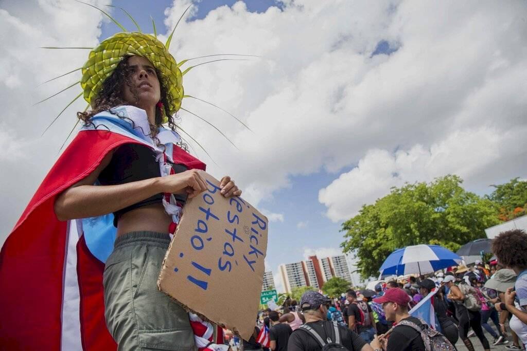 Protesta multitudinaria Puerto Rico Foto: AP