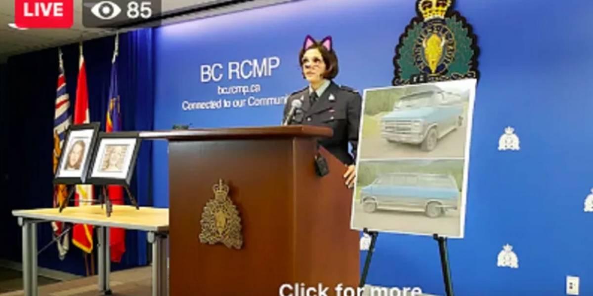 Fail: Policía de Canadá transmite rueda de prensa sobre asesinato con filtro de gatito