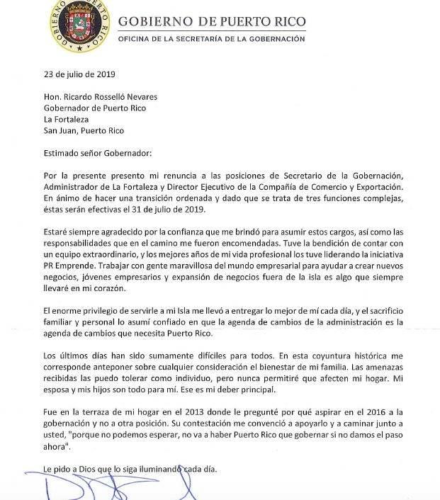 Renuncia de Ricardo Llerandi a la secretaría de la gobernación.