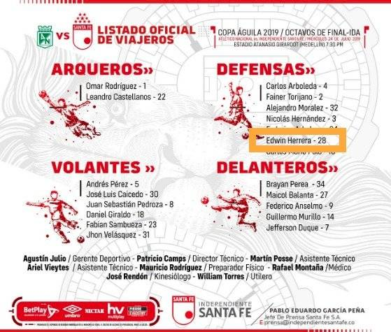 Edwin Herrera no viajó a Nacional VS Santa Fe