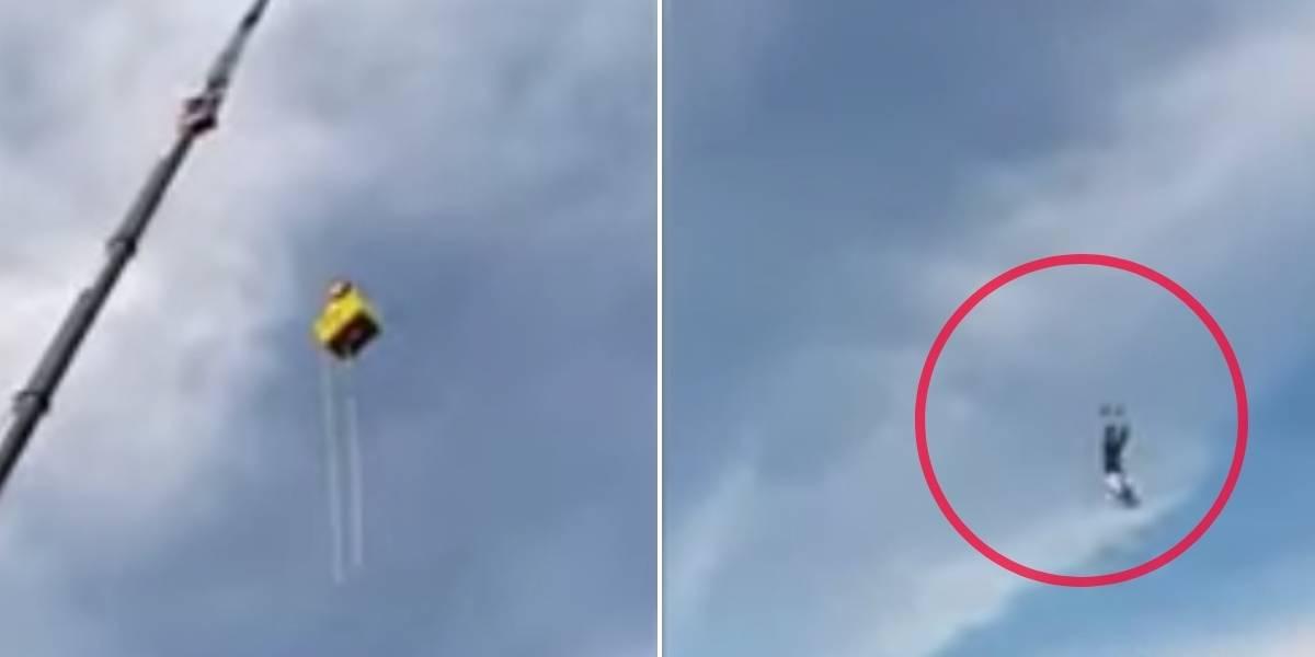 (VIDEO) Joven realiza salto en bungee jumping y por poco muere al reventarse la cuerda