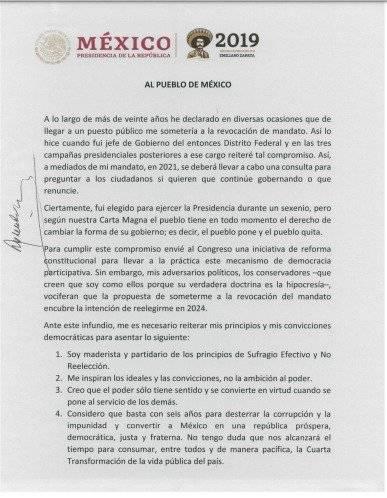 Documento íntegro de no reelección. Foto: Gobierno de México