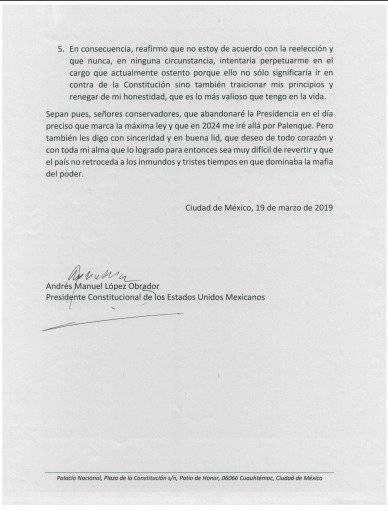 Documento íntegro de no reelección. Foto: Gobierno de México.