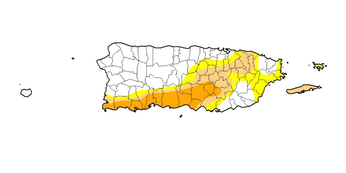 Baja leve en niveles de sequía en Puerto Rico