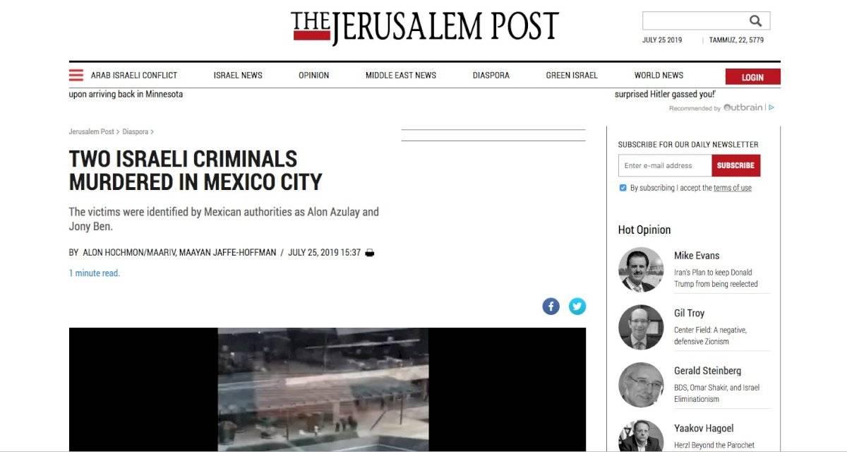 Portada online del periódico Jerusalem Post