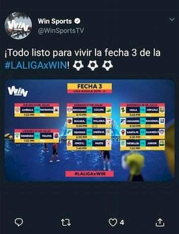 Error Win Sports Fecha 3 Liga Águila 2-2019