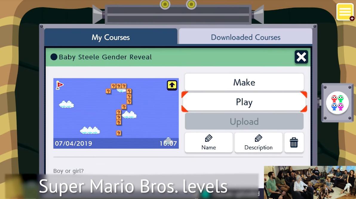 Video: Le revelaron el sexo de su bebé a su familia usando Super Mario Maker 2