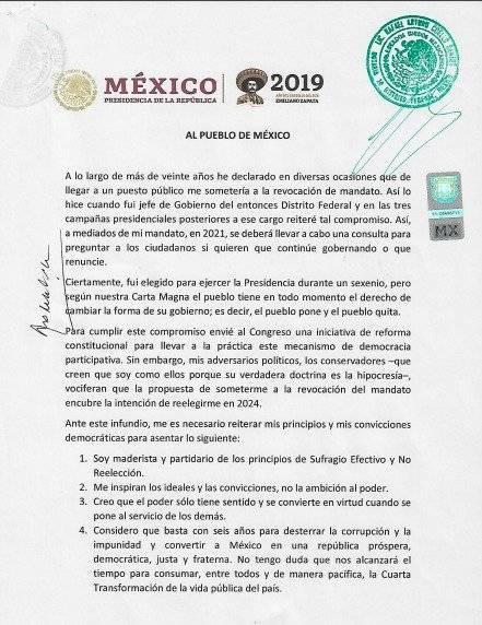 Documento íntegro. Foto: Gobierno de México