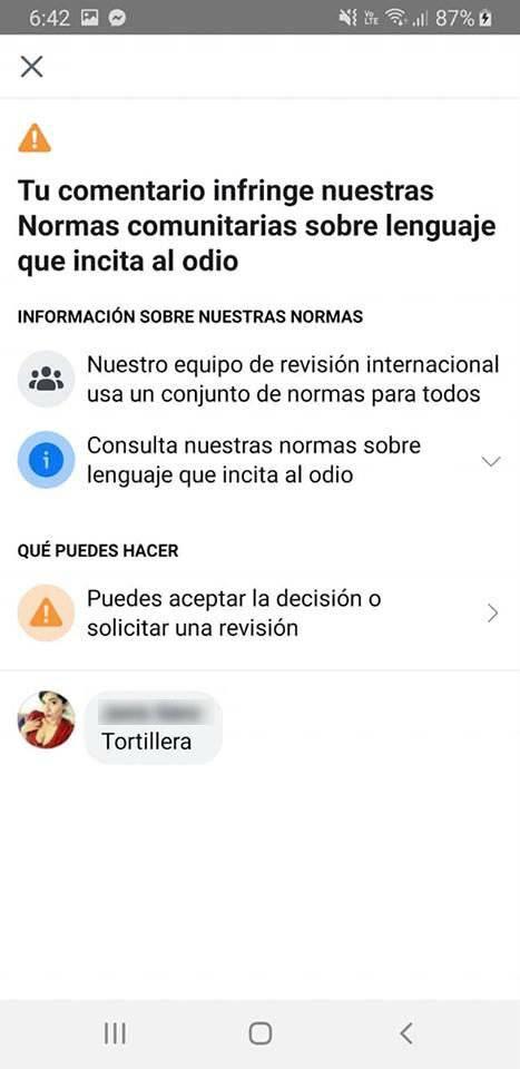 Prohibición de la palabra tortillera en Facebook