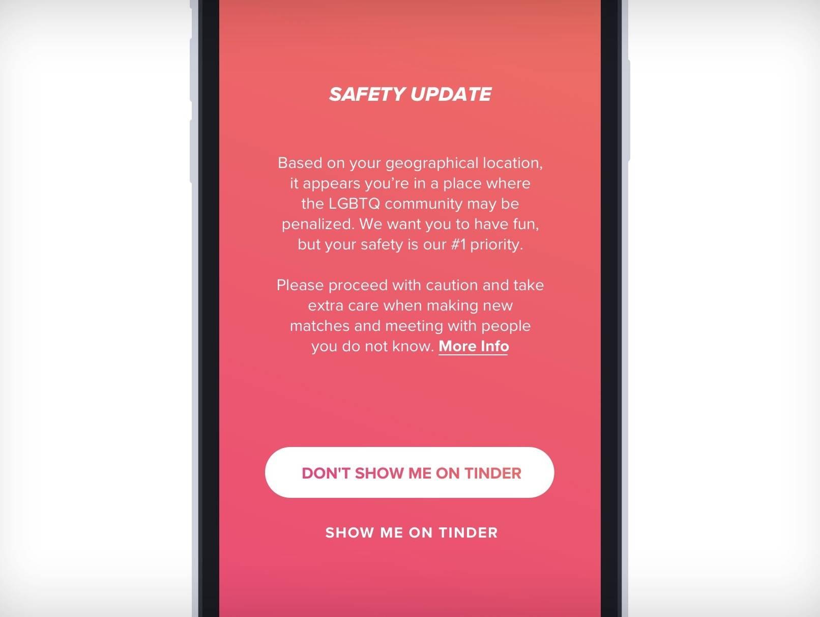 Tinder ofrecerá una nueva función de seguridad que advierte a usuarios LGBTQ cuando estén en países hostiles