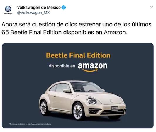 Amazon vende su primer auto, el Beetle Final Edition de Volkswagen