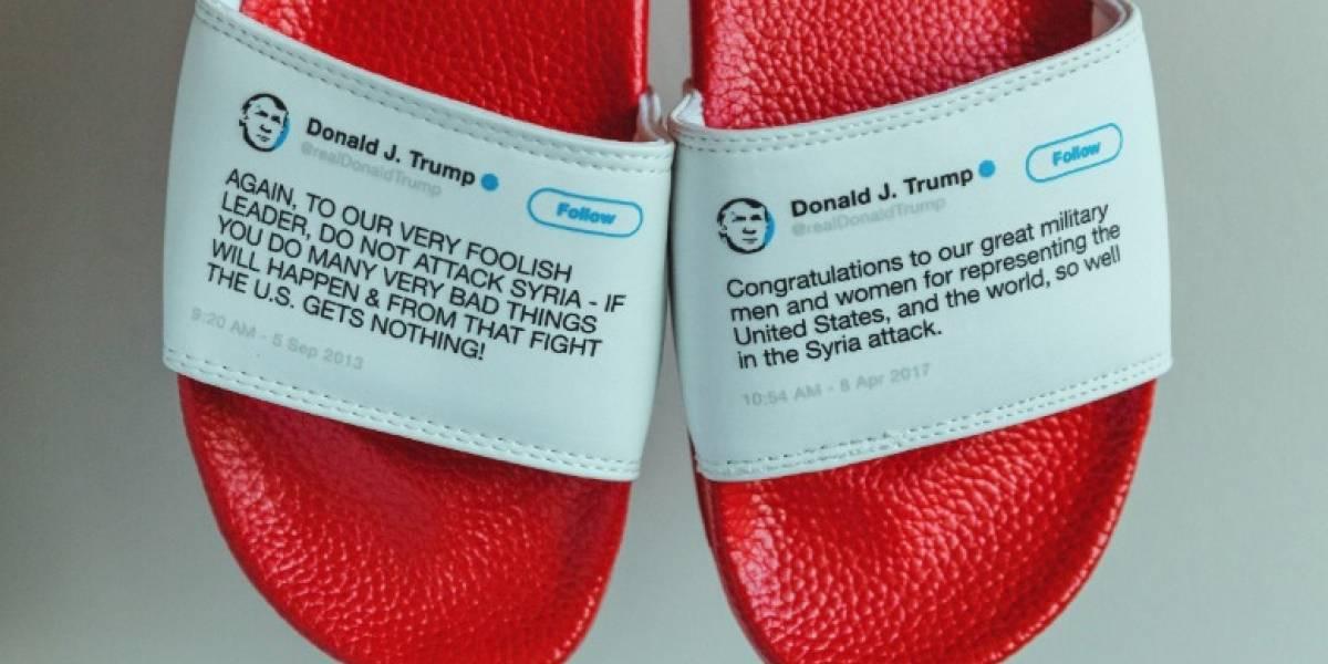 Crean sandalias con tweets contradictorios de Donald Trump y se venden en menos de un mes