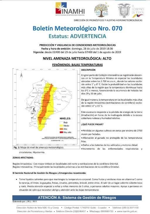 Heladas: Qué pasará por los niveles bajos de temperatura en Ecuador