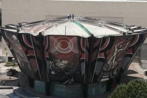 Revisan techo del Polyforum Cultural Siqueiros dañado por lluvias