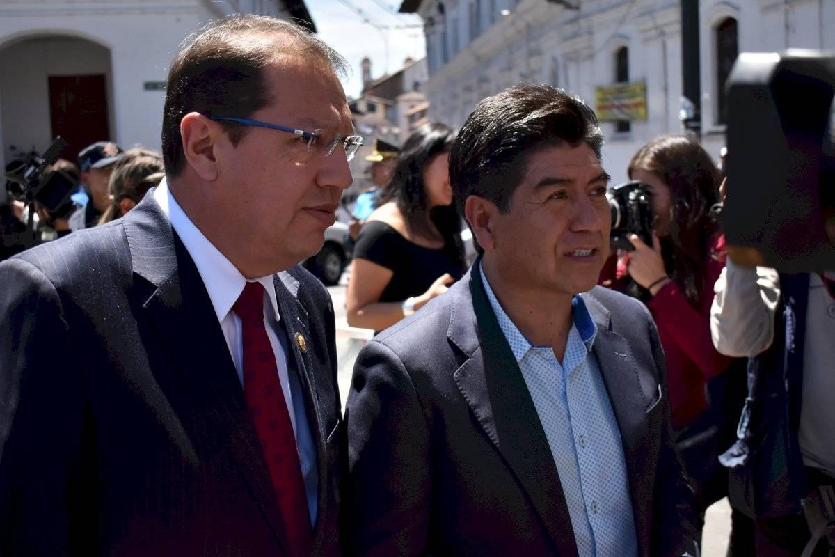 (Izq.) Santiago Guarderas - vicealcalde de Quito | (der.) Jorge Yunda - alcalde de Quito - Metro Ecuador