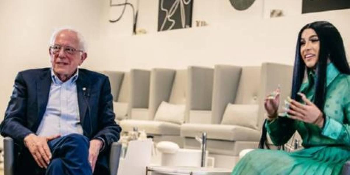 Senador estadounidense Bernie Sanders graba un video con Cardi B