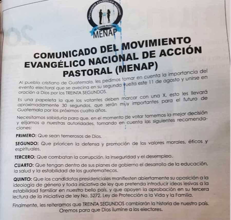 Comunicado del MENAP