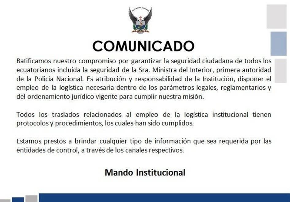 Comunicado Policía Ecuador