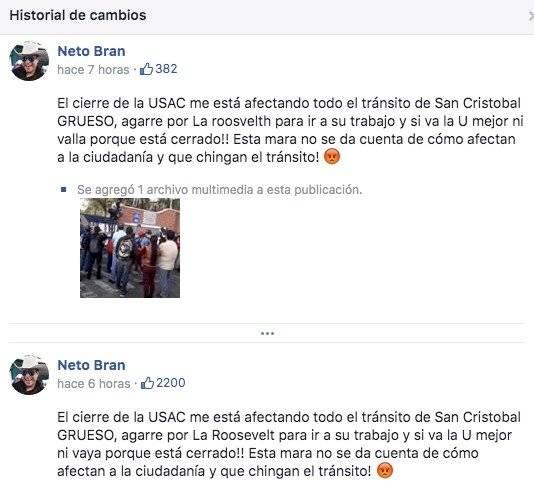 Neto Bran se pronuncia por protesta en Usac