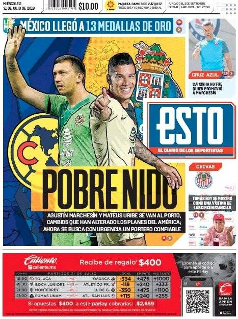 Portada Diario Esto martes 31 julio 2019