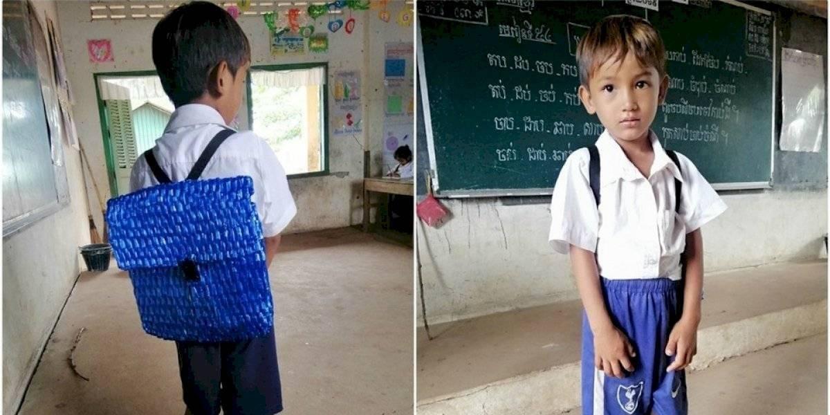 Padre le tejió una mochila a su hijo porque no tenía plata para comprarle una