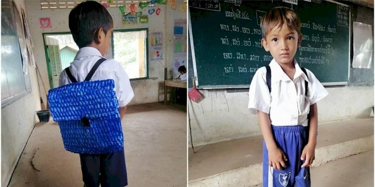 Tierno papá camboyano le tejió una mochila a su hijo porque no tenía plata para comprarle una