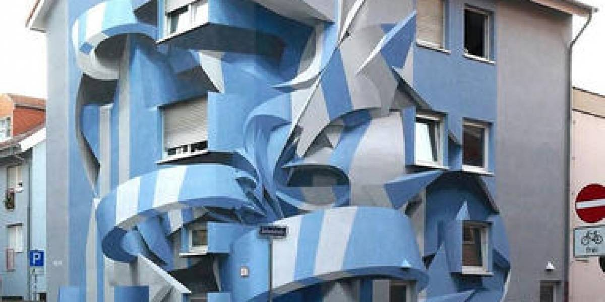 Artista añade ilusiones ópticas a edificios