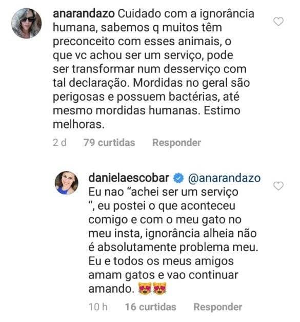 Daniela Escobar e internauta