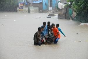 Cocodrilos invaden calles inundadas en India