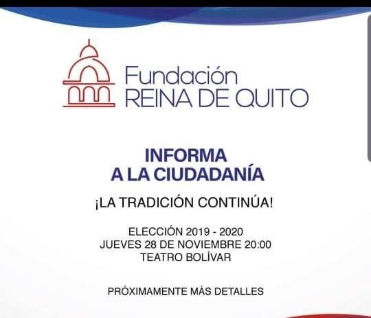 Fundación Reina de Quito anuncia fecha y lugar para la elección de la nueva soberana