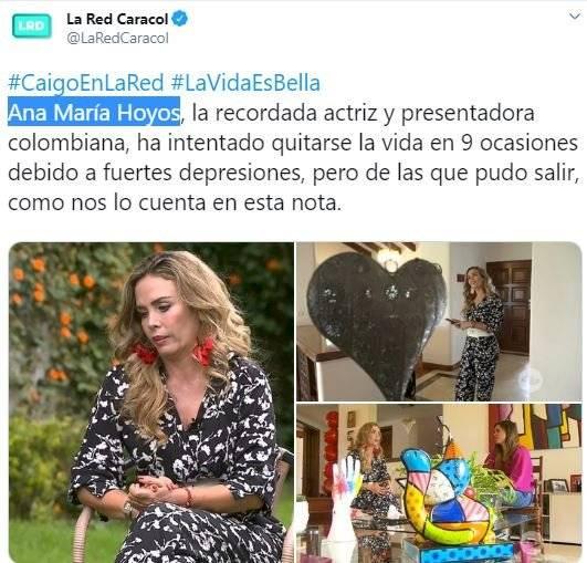 Famosa actriz colombiana ha intentado quitarse la vida en nueve ocasiones