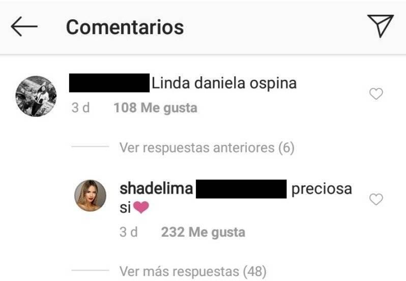 Halago de Shannon de Lima a Daniela Ospina en Instagram