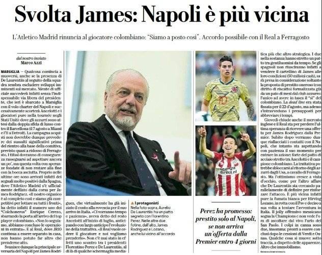 Real Madrid prestaría a James Rodríguez al Napoli