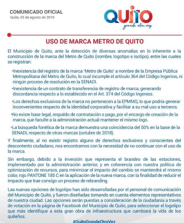 Alcaldía reformará el logo del Metro de Quito Twitter