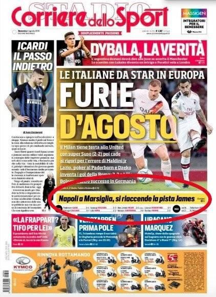 Portada Corriere dello Sport, lunes agosto