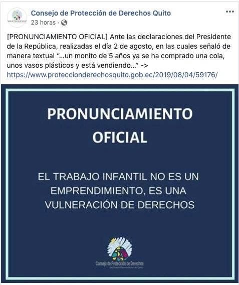 """Consejo de Protección de Derechos Quito se pronunció acerca de frase """"monitos"""""""